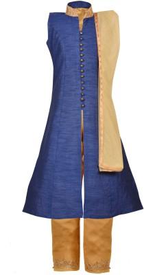 Aarika Girl's Festive & Party Kurta, Pyjama & Dupatta Set(Dark Blue Pack of 1)