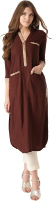 Libas Solid Women's Pathani Kurta(Brown)