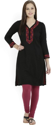 Biba Self Design Women Straight Kurta(Black)