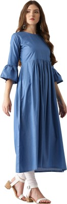 Libas Women Solid A-line Kurta(Blue) at flipkart