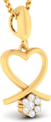 Ornomart heart dropping 14K Yellow Gold Diamond Metal Pendant