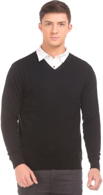 Flying Machine Striped Round Neck Casual Men Black Sweater at flipkart