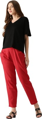 Libas Regular Fit Women's Red Trousers