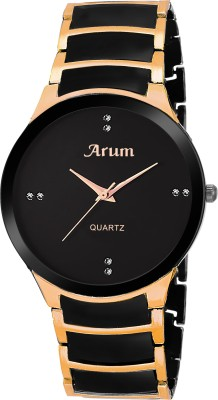 Arum ASMW-041 Black Round Day and Date Dial Black Leather Strap Analogue Watch Watch  - For Men