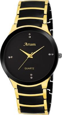 arum ASMW-023 Black Dial Golden&Black Chain Watch  - For Men