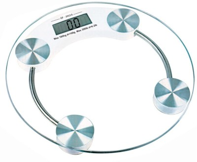 Skywalk Round Thick Tempered Glass Electronic Digital Body Weight Weighing Scale Weighing Scale(White)  available at flipkart for Rs.595