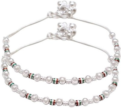 Dzinetrendz Silver plated Meenakari and Carved balls, single strand ethnic Fashion Anklet payal pajeb jewellery for Women Brass Anklet(Pack of 2) at flipkart
