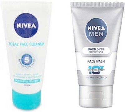 Nivea TOTAL CLEANUP FACE WASH 50ML + MEN DARK SPOT REDUCTION 100ML Face Wash(100 ml)