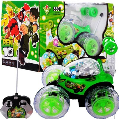 customised cart Rechargeable BEN 10 Stunt Car Remote Control Car(Green)