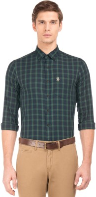 U.S. Polo Assn Men Checkered Casual Green Shirt