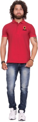 Anchy Solid Men Polo Neck Maroon T Shirt