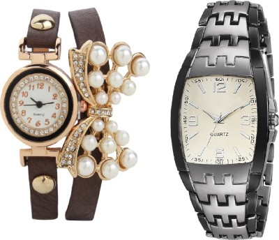 declasse silver grey two tone collection men watch with butterfly pendent ladies bracelet party wear Watch  - For Couple