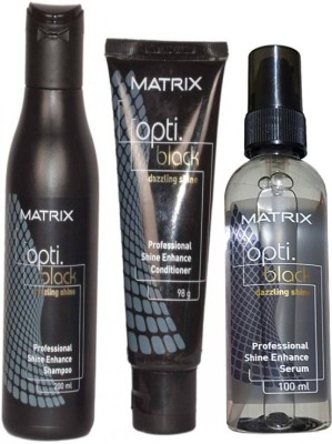 Matrix Opti Black Dazzling Shine Shampoo(200ml), Opti Black Conditioner(98g) & Opti Black shine serum(100ml) Combo(Set of 3)