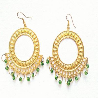 Reyansh collection Golden Chand Bali with small green dangling beads Alloy, Metal Jhumki Earring  available at flipkart for Rs.199