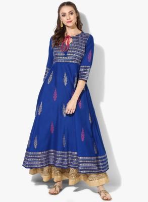 Zoeyams Women Printed Anarkali Kurta(Blue)
