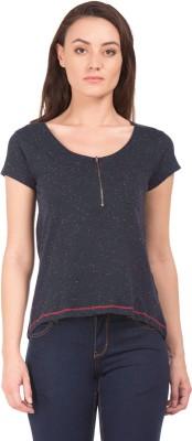 Cherokee Casual Short Sleeve Solid Women Black Top