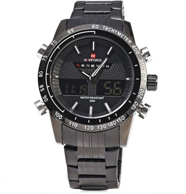 NAVIFORCE Quartz Analog Clock Leather Canvas Strap Analog Digital Watch   For Men NAVIFORCE Wrist Watches