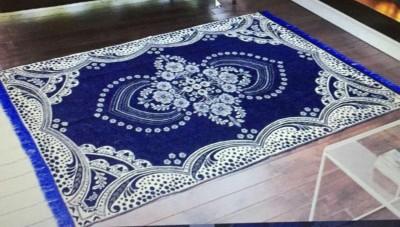 Rudra Decor Dark Blue Velvet Carpet(150 cm  X 210 cm) at flipkart