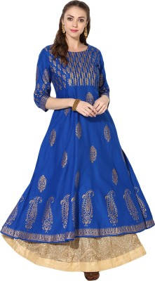 Shiv fashion Women Floral Print Anarkali Kurta(Blue)