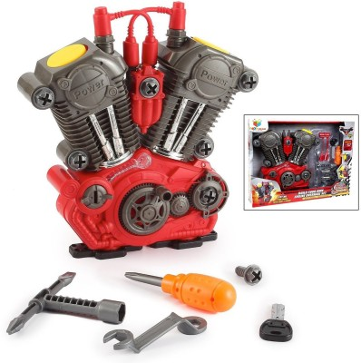 Toys Bhoomi Build Your Own Motorcycle Engine Overhaul Set with Lights   Sound Mechanics Construction Toy Modification Playset    20 Pieces  Multicolor