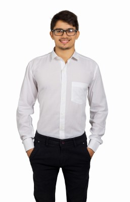 Leebazone Men's Solid Formal White Shirt