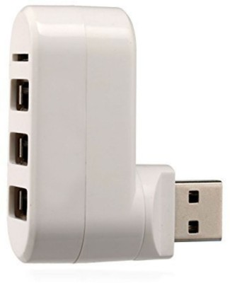 Shrih 3 Port USB hub with Memory Card Reader(White)