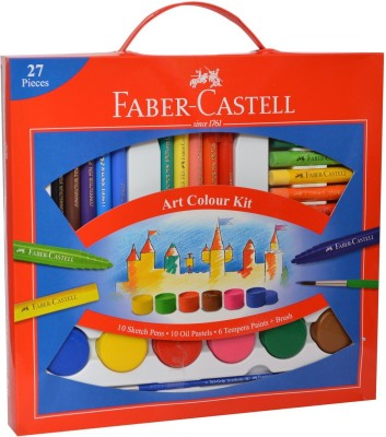 Faber-Castell Art Colour Kit Gift Pack which includes 10 Connector pens, 10 oil pastels, 6 Tempra Paints and 1 Tri-Grip Paint Brush