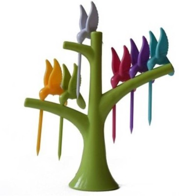 NK-STORE Hummingbird Fruit Fork Set With Fork Stand Plastic Baby Fork, Salad Fork, Fruit Fork, Dessert Fork, Table Fork Set(Pack of 7)