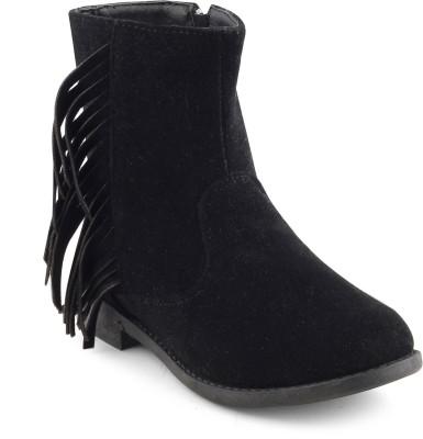 KITTENS Girls Slip on Casual Boots(Black) at flipkart