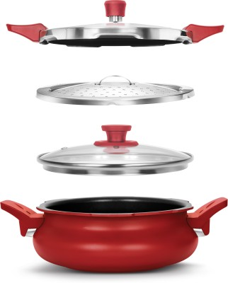 Pigeon All in One Super Cooker Outer Lid - Red 3 L Pressure Cooker with Induction Bottom(Aluminium)