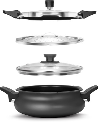 Pigeon All in One Super Cooker Outer Lid - Black 3 L Pressure Cooker with Induction Bottom(Aluminium)