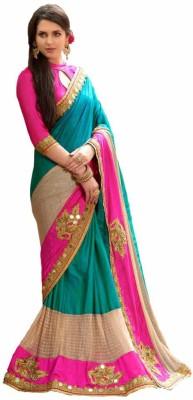 Villagius Embroidered Bollywood Silk Saree(Green)