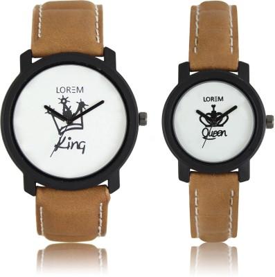 LOREM LR18 209 KING QUEEN Men   Women Combo Analog Watch   For Couple LOREM Wrist Watches