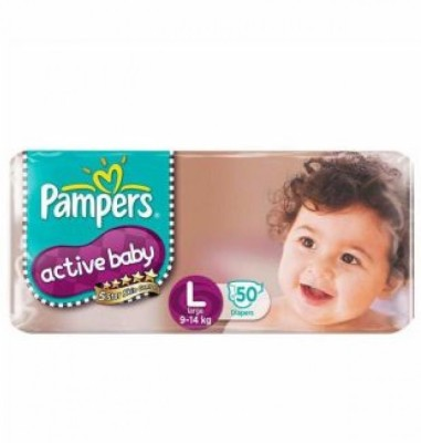 Pampers Active Baby Diapers, L 50 Pieces