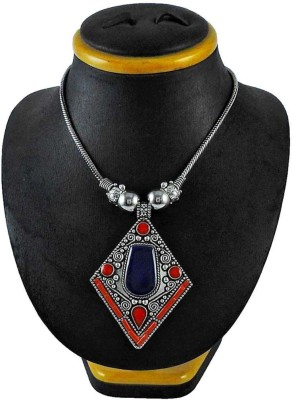 Miska Silver Coral, Turquoise, Lapis Lazuli Alloy Necklace
