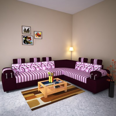 Knight Industry Fabric 6 Seater  Sofa(Finish Color - purple)