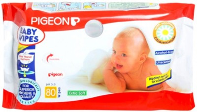 Pigeon Chamomile Baby Wipes, 80 Pieces