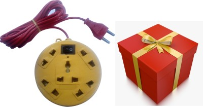 S.Blaze FREE Surprise Gift with Multi-Colour 5+1 Mini Power Strip Extension Cord with ON /OFF Switch & 3-4m lengthy wire, 1 Three Pin Socket + 4 A Two Pin Socket  available at flipkart for Rs.199