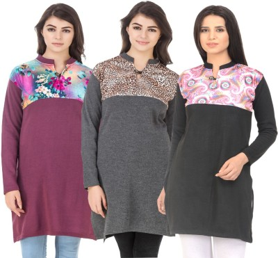 Envy9 Casual Printed Women Kurti(Pack of 3, Multicolor, Multicolor, Red)