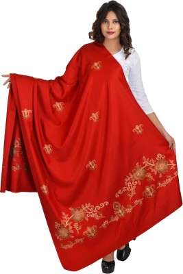 Baisa Pure Wool Embroidered Women Shawl(Red)
