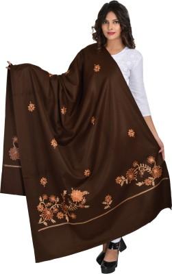 Baisa Pure Wool Embroidered Women Shawl(Brown)