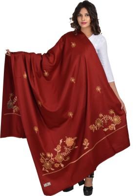 Baisa Pure Wool Embroidered Women Shawl(Maroon)