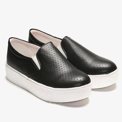 TEN Black Flat Casual Shoes Slip On Sneakers For Women(Black)