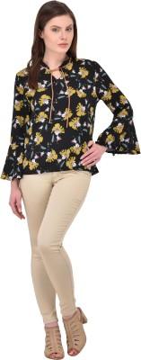 RITU DESIGNS Party Bell Sleeve Floral Print Women Black Top