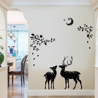 Oren Empower Artistic Deers - Create a Peace of mind wall sticker for bedroom(90 cm X cm 60, Black)  available at flipkart for Rs.349