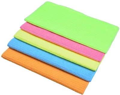Sukot 5 PCs Set Microfiber Cloths Kitchen Utensils Cleaning Cloth Car Bike Clean Wash Cloths Wet and Dry Microfibre Cleaning Cloth(Pack of 5)  available at flipkart for Rs.265