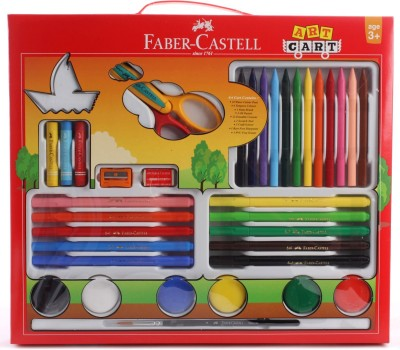 Faber-Castell Art Cart Gift Hampper includes 10 Connector pens, 6 Tempra Colours, 1 Tri Grip Paint Brush, 3 Oil Pastels, 12 erasable cryons, 1 scratch tool, 1 craft scissor, 1 rust free sharpner, 1 dust free eraser and 1 door tag