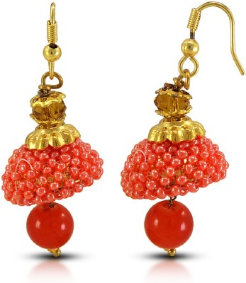 Fabfashion Awesome orange colour jhumka design for girls and womens Pearl Alloy Dangle Earring  available at flipkart for Rs.210
