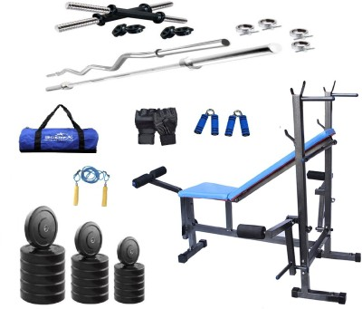 Star X 72kg PVC weight with rods acessories and 8 in1 bench Home Gym Combo(100 - 120 kg)