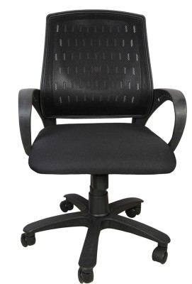 Rajpura Smart Medium Back Revolving Chair with Centre Tilt mechanism in Black Fabric and mesh/net back Fabric Office Executive Chair(Black)